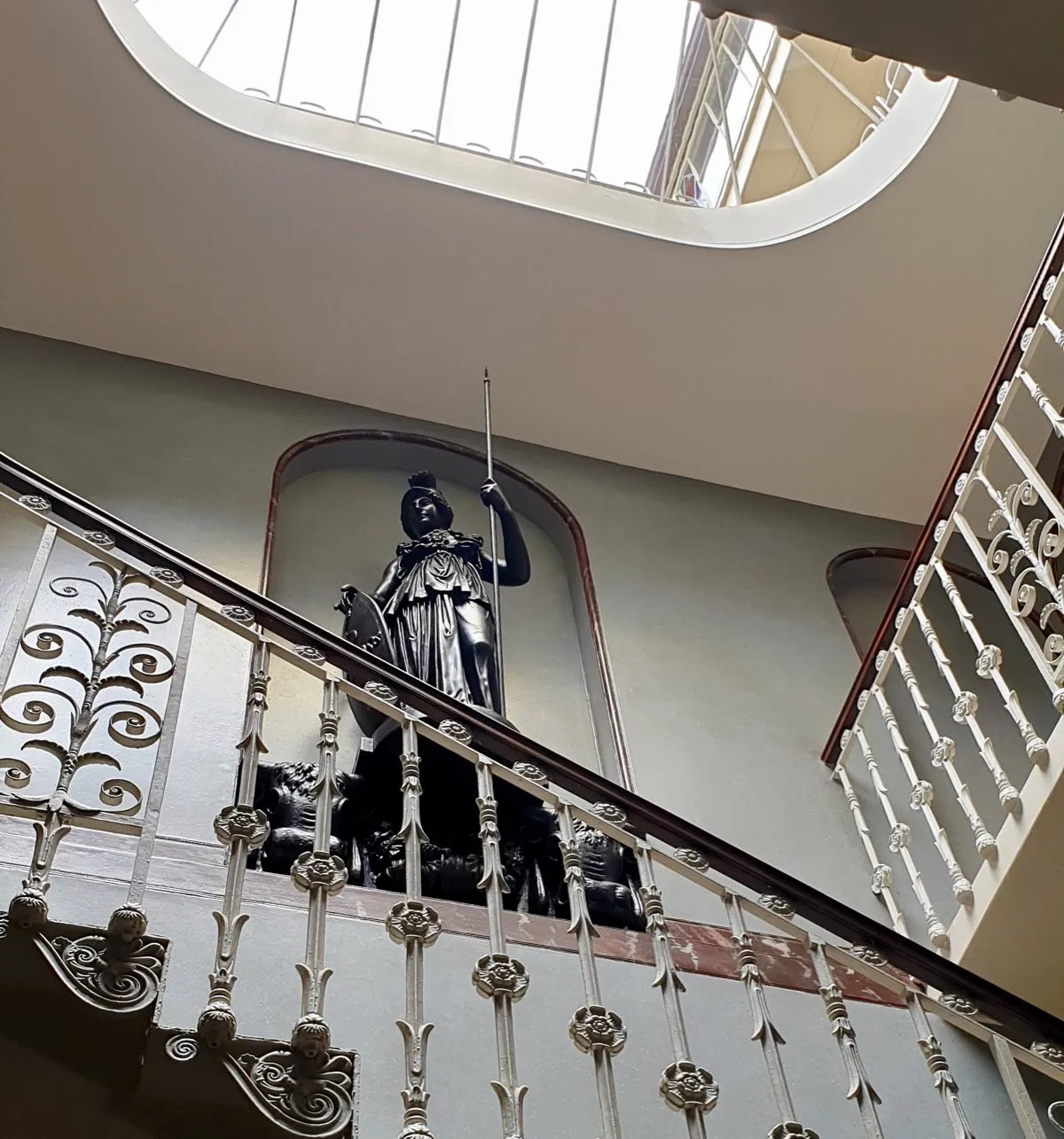 Pitzhanger staircase with light well and statue