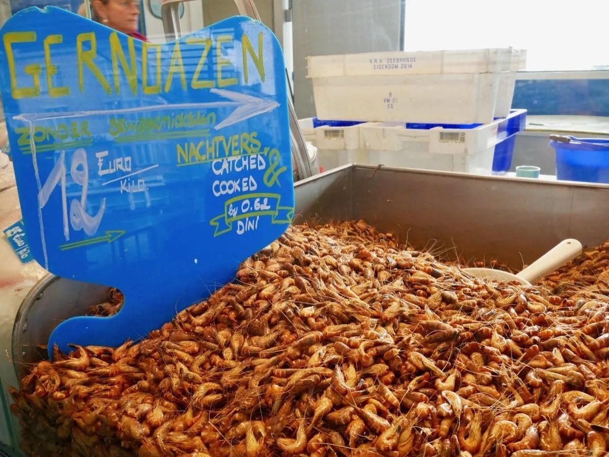 Brown North Sea Shrimp market stall