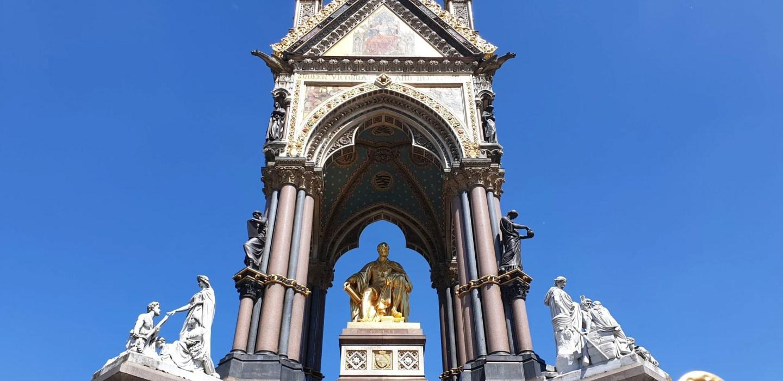 Albert Memorial London with golden statue of Prince Albert