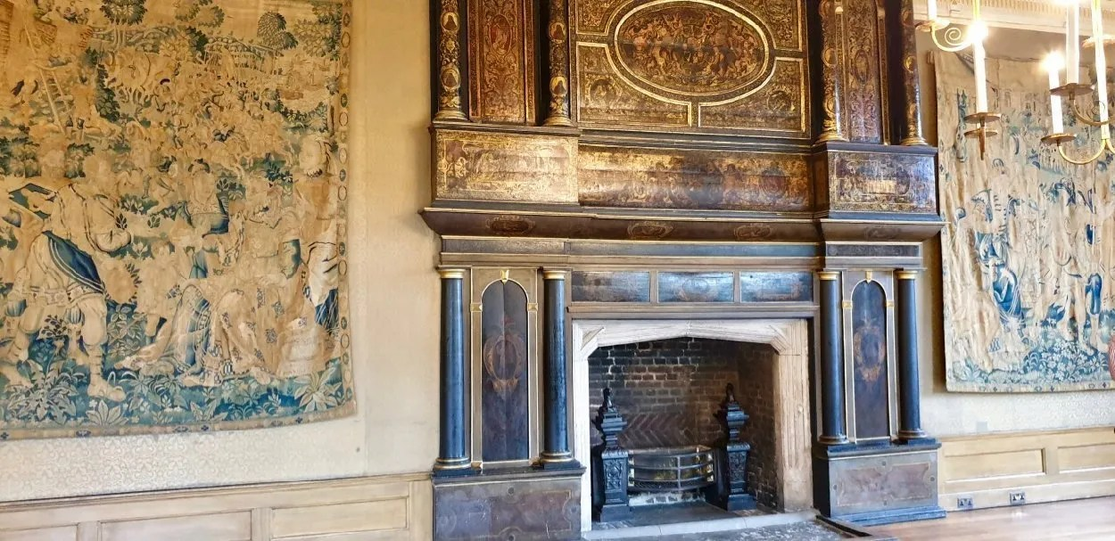 Great Chamber London Charterhouse with flemish tapestries and ornate Tudor fireplace