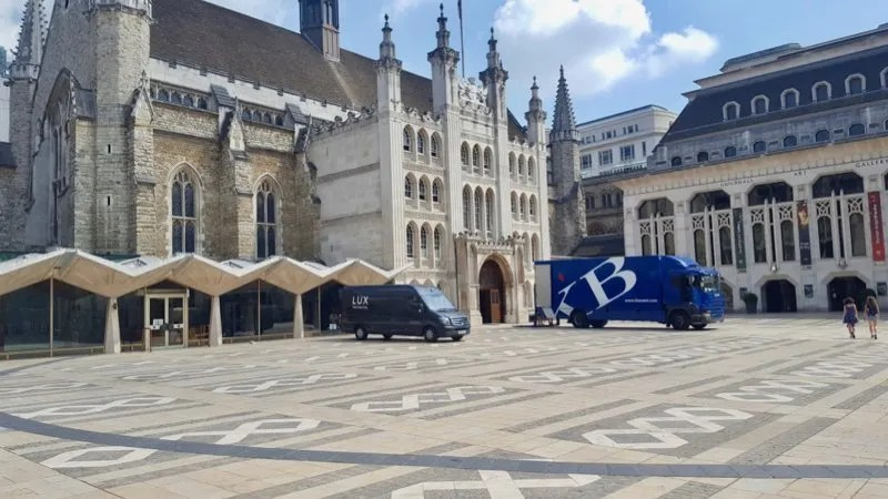 Guildhall Yard London with black line of Roman Amphitheatre