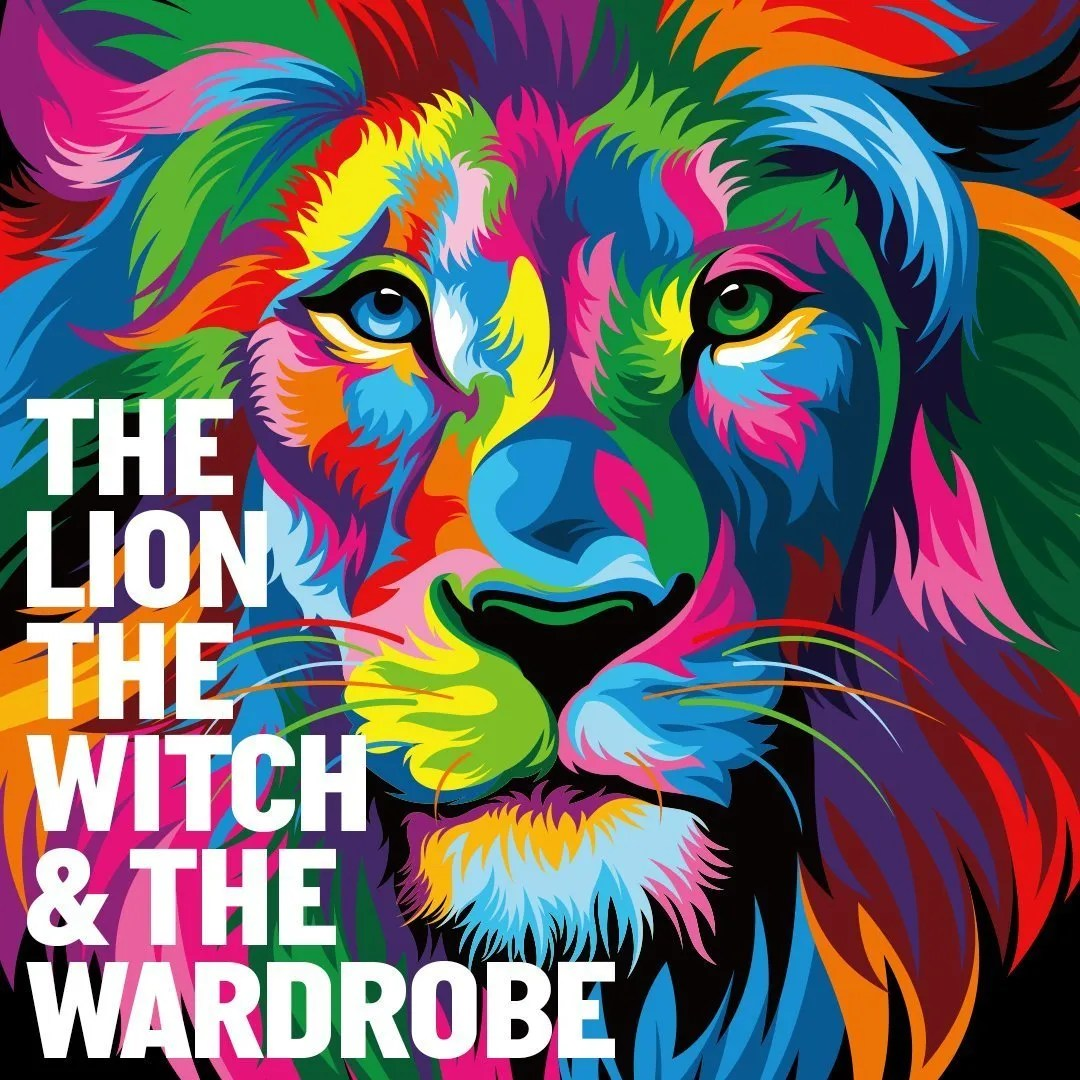 The Lion, the Witch and the Wardrobe poster with multicoloured lion