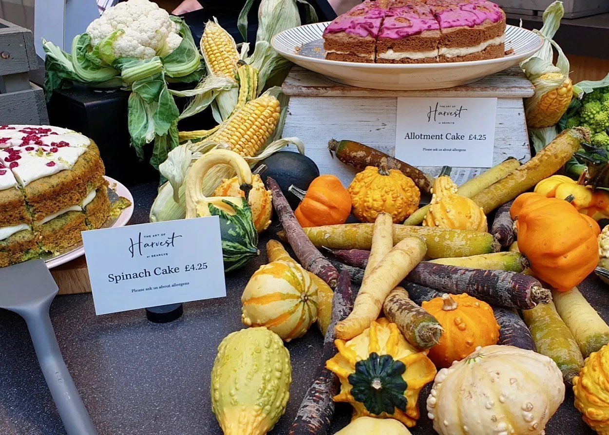 Autumn vegetables and cake