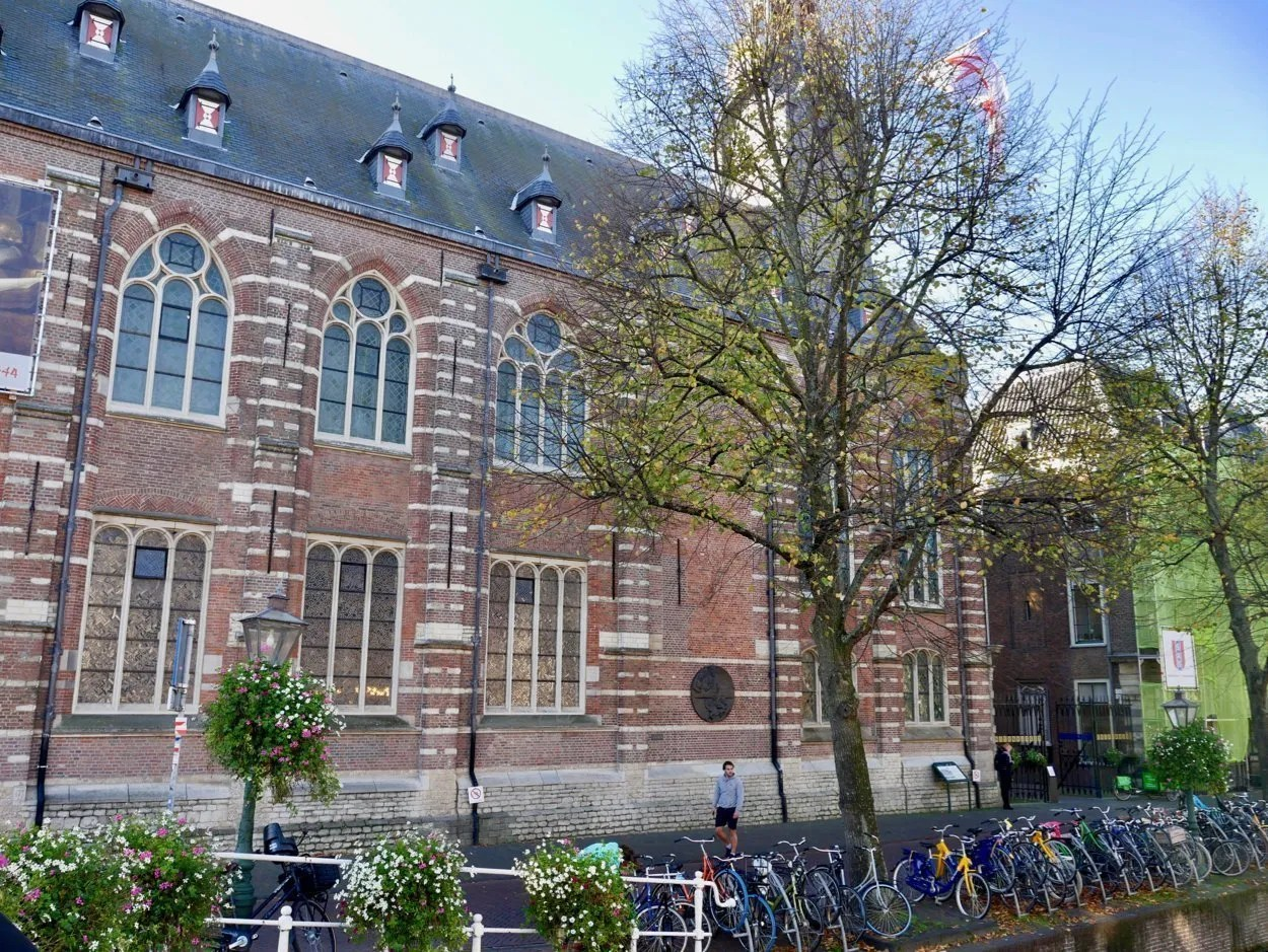 Medieval building by a canal Leiden University