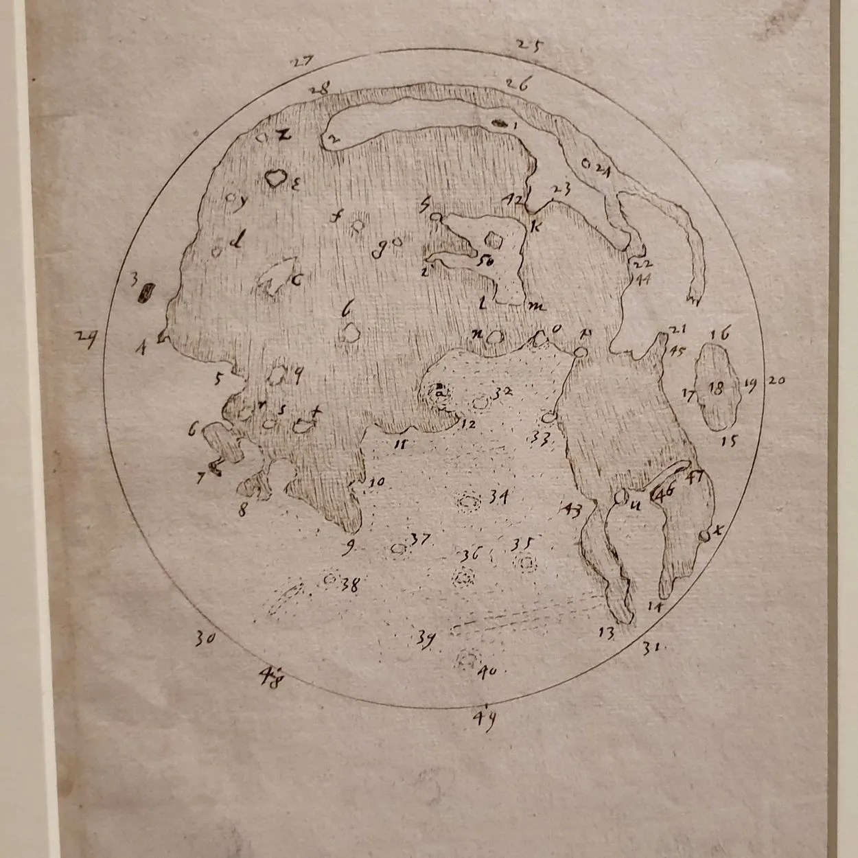 Earliest map of the moon drawn using a telescope. Pencil drawing of the moon