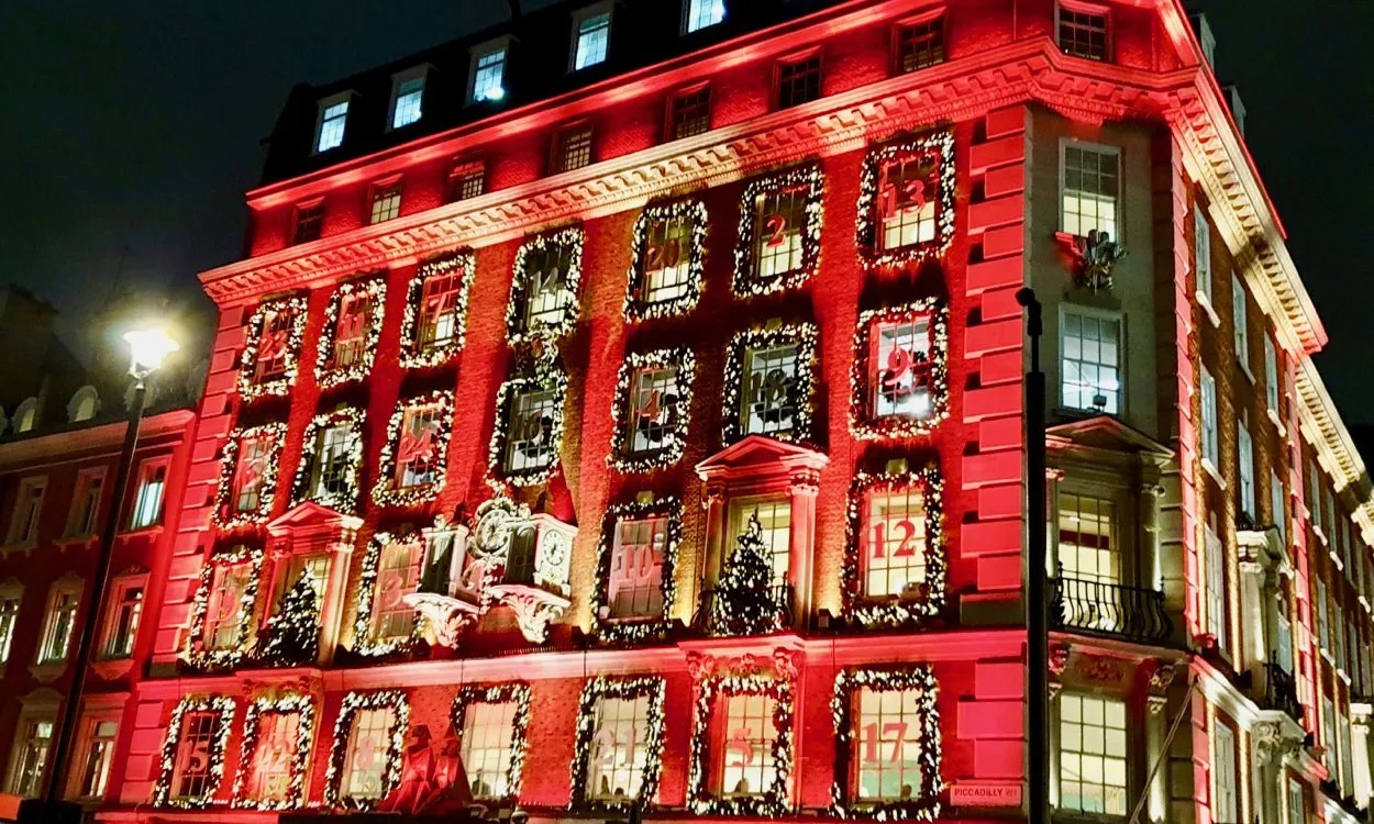 Fortnum and Mason store red Christmas Lights advent calendar