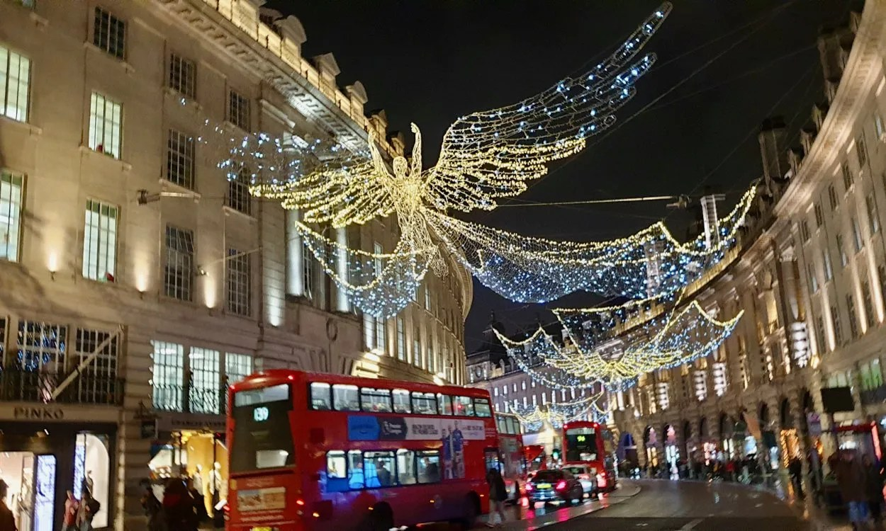 Christmas light Angels with red London buses Regent Street