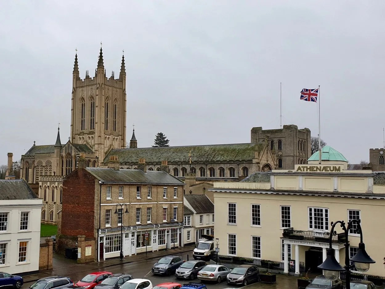 Atheneum and St Edmundsbury Cathedral seen from Angel Hotel Bury St Edmunds