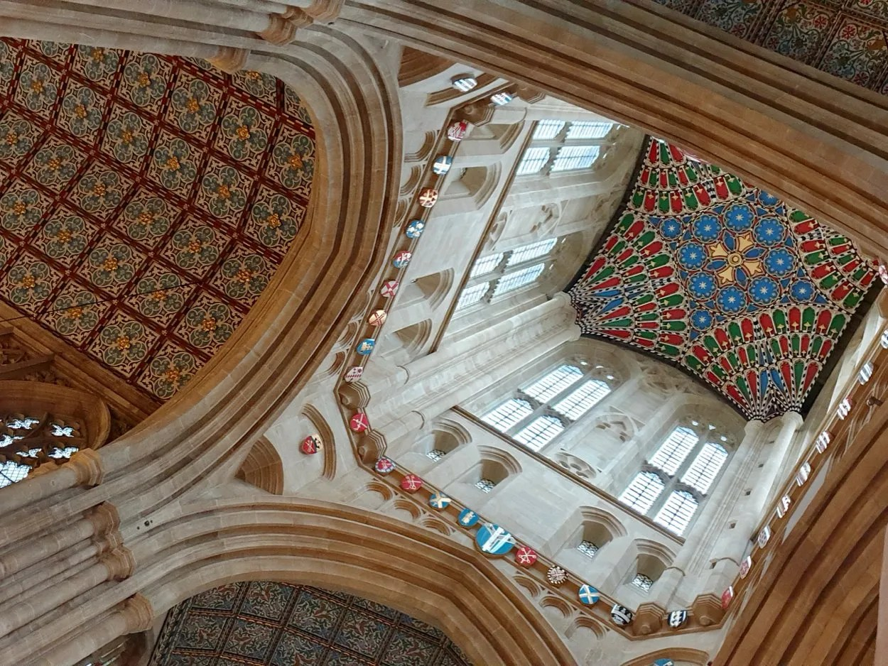Looking up to ornate ceiling of St Edmundsbury Cathedral