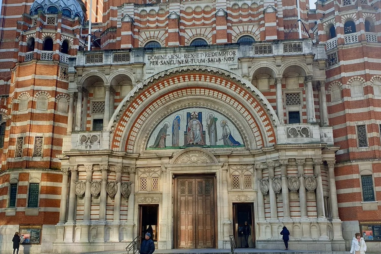 Facade of Westminster Cathedral striped brick, byzantine style building