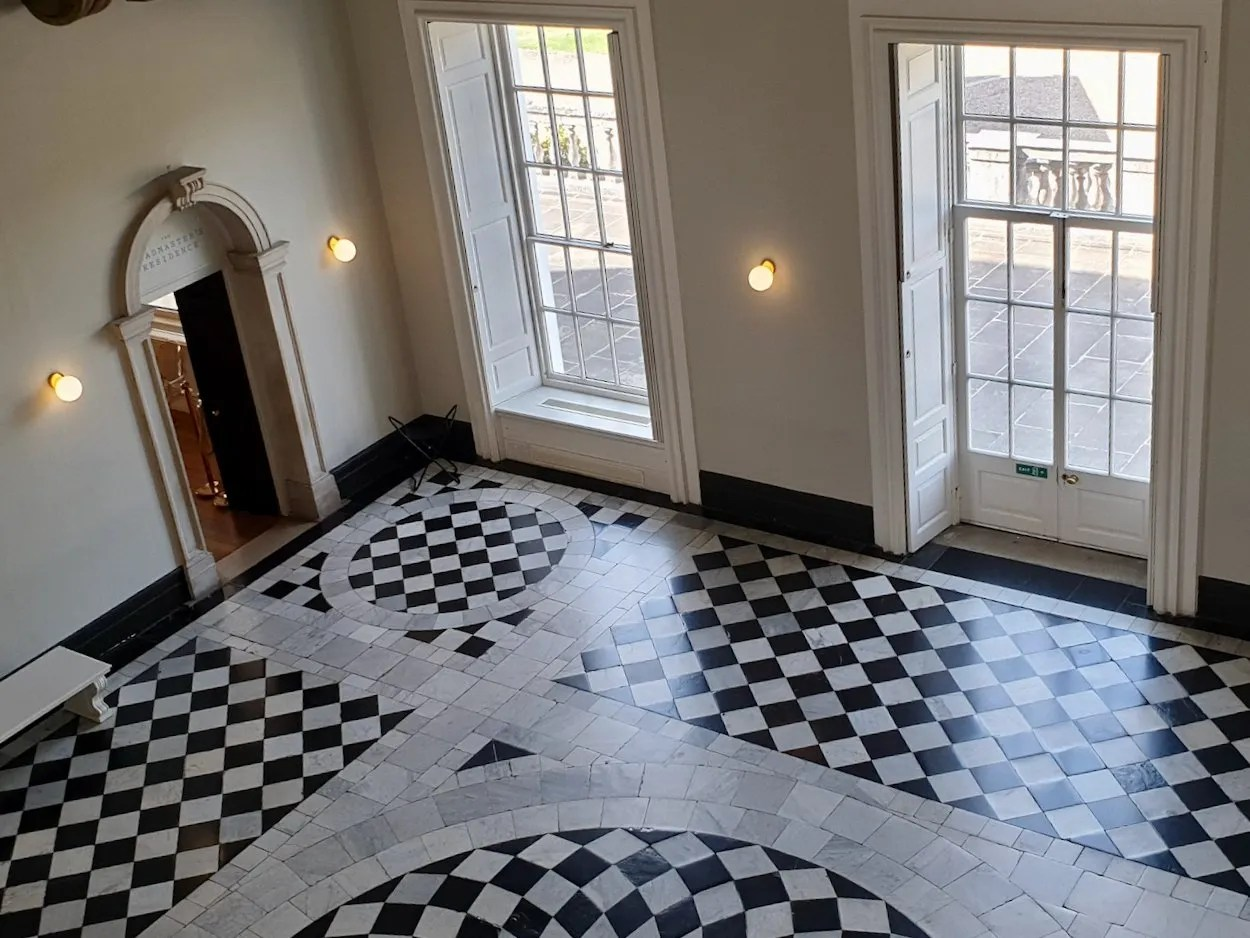 Looking down onto black and white tiled floor in Palladian room Queen's House Greenwich
