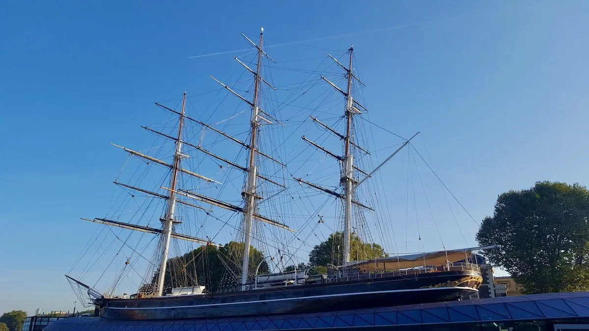 Cutty Sark tea clipper in dry dock Greenwich London