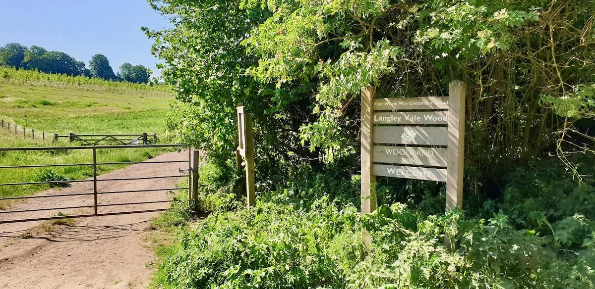 Langley Vale Wood sign gate and path leading to newly planted wood