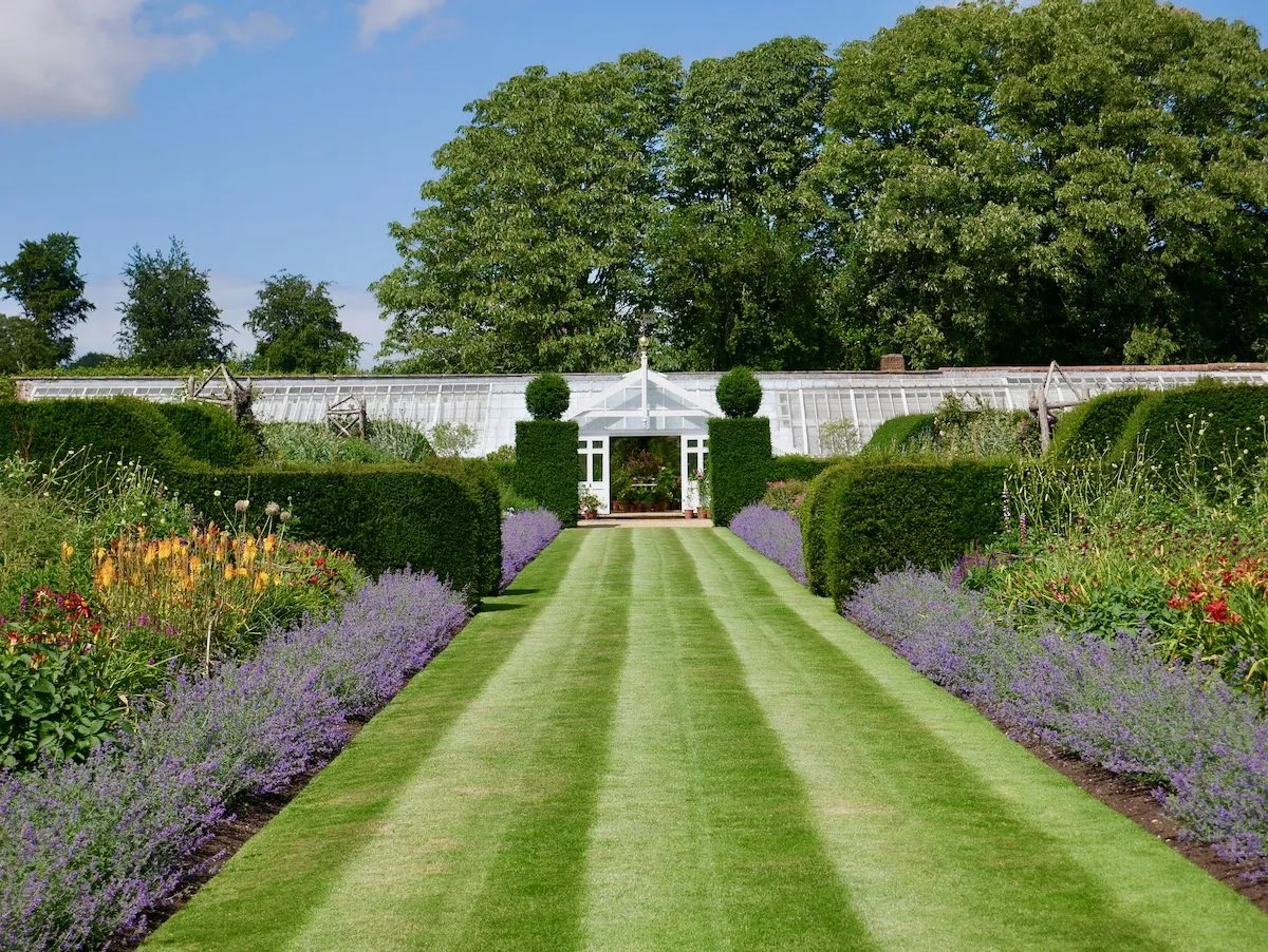 Herbaceaous border edged with lavender Houghton Hall walled garden