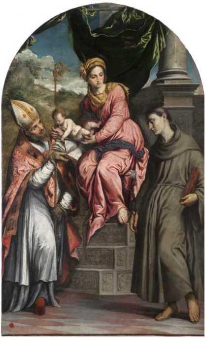 Madonna con Bambino tra san Enrico di Uppsala e sant' Antonio da Padova.
