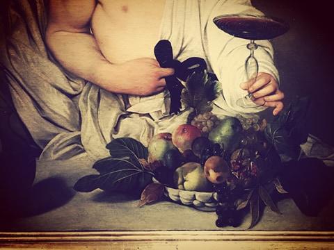 dettaglio di Bacco, Caravaggio 1596/97