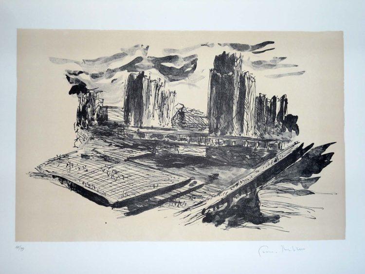 Giovanni Michelucci, Elementi di città, litografia, 1974