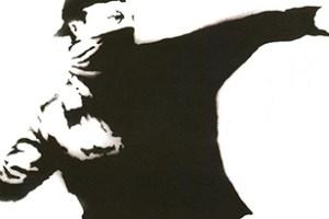 Banksy flower trhower