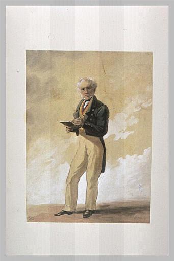 aquarelle du père de l'artiste dessinant debout - Eugene Isabey