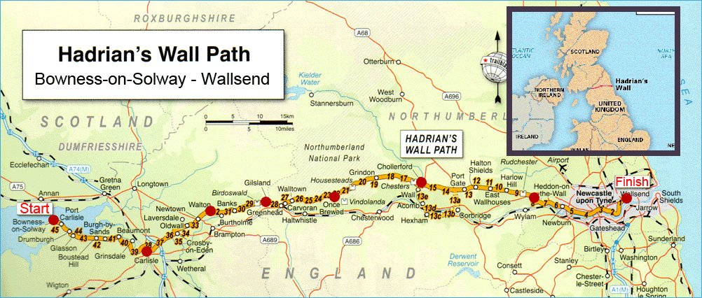 Hadrian wall map