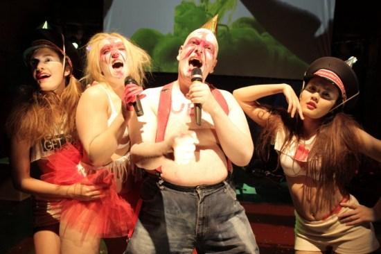 "Katie Ingram, Tony Torn, Julie Atlas Muz, and Sara Rahmen in ""Ubu Sings Ubu."" Photo by Max Basch"