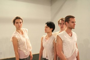 A dress rehearsal at Center for Performance Research. From left: Lydia Chrisman, Nana Tsuda Misko, Jon Burklund, and Li Cata