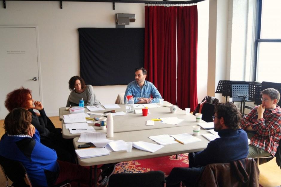 Amahl Khouri, Lina Abyad, Lameece Issaq, Ethan Hova, Madeleine George, Hadi Tabbal (She, He, Me). Photo by Jake Schwartzwald