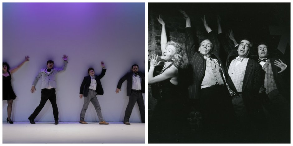"Left, ""The Floatones"" 2015, featuring Larissa Velez-Jackson, Greg Zuccolo, Jess Barbagallo & Joshua Gelb. Photo by Victoria Sendra; right, 1995, Mary Schultz, Bill Rice, Jim Neu, and Keith McDermott. Photo by Tom Brazil"