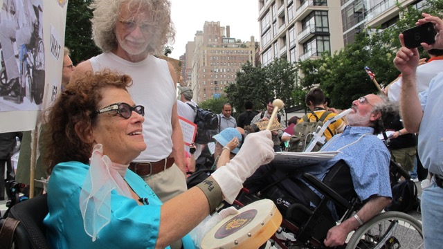 film still: Simi Linton protests in NYC