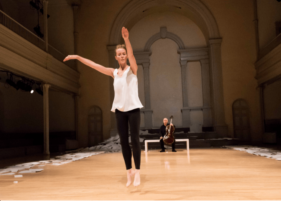 Jean Butler and Neil Martin in performance at Danspace Project in NYC. Photo by Ian Douglas, courtesy of Danspace Project.