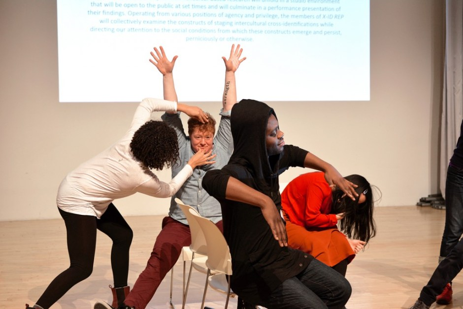"""Actors take turns posing each other in the """"tableaux game"""" during Director Lileana  Blain-Cruz's study week as part of X-ID REP at New Museum, New York, 2015. Pictured  (left to right): Amelia Workman, Becca Blackwell, Mikeah Jennings, Youree Jong Choi."""