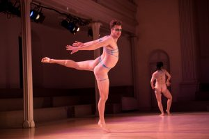 "Luke Miller in Antonio Ramos/The Gangbanger's ""Almodovar Distopya"" Photo by Ian Douglas, courtesy of Danspace Project"