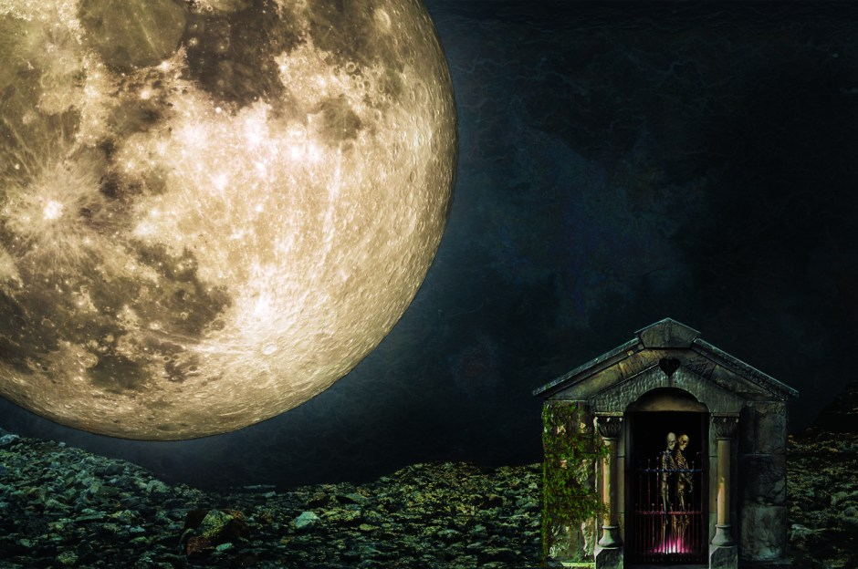 alt text: Photo collage of a large, luminous moon over gravel. On the right, two skeletons in a warm pink glowing light embrace in a mausoleum with vines growing through the stone walls.