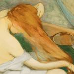 La toilette naissance de l'intime Wladyslaw Slewinski femme peignant ses cheveux