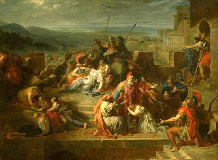 La consternation de la famille de Priam après le combat d'Achille & d'Hector Etienne Barthelemy Garnier