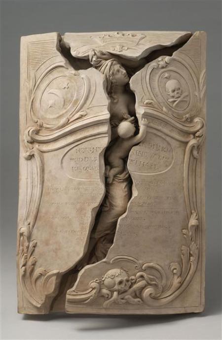 Réduction de monument funéraire de Maria Magdalena Langhans, née Wäber, et de son enfant mort né, attribué à Valentin Sonnenschein