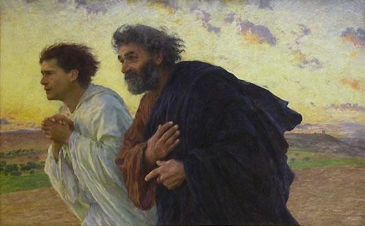Les disciples Pierre et Jean courant au sépulcre le matin de la Résurrection, Eugène Burnand