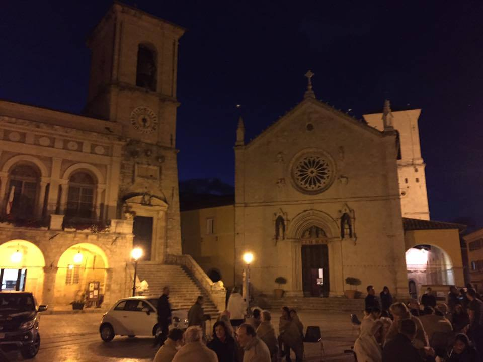 Norcia the night of the Earthquake, the people are out and scared, but everyone is safe and the town is in good condition