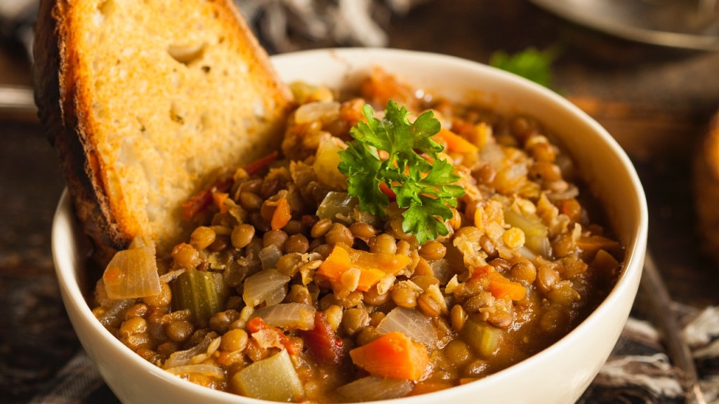 Lentil soup is a hearty and easy soup for a weeknight dish.