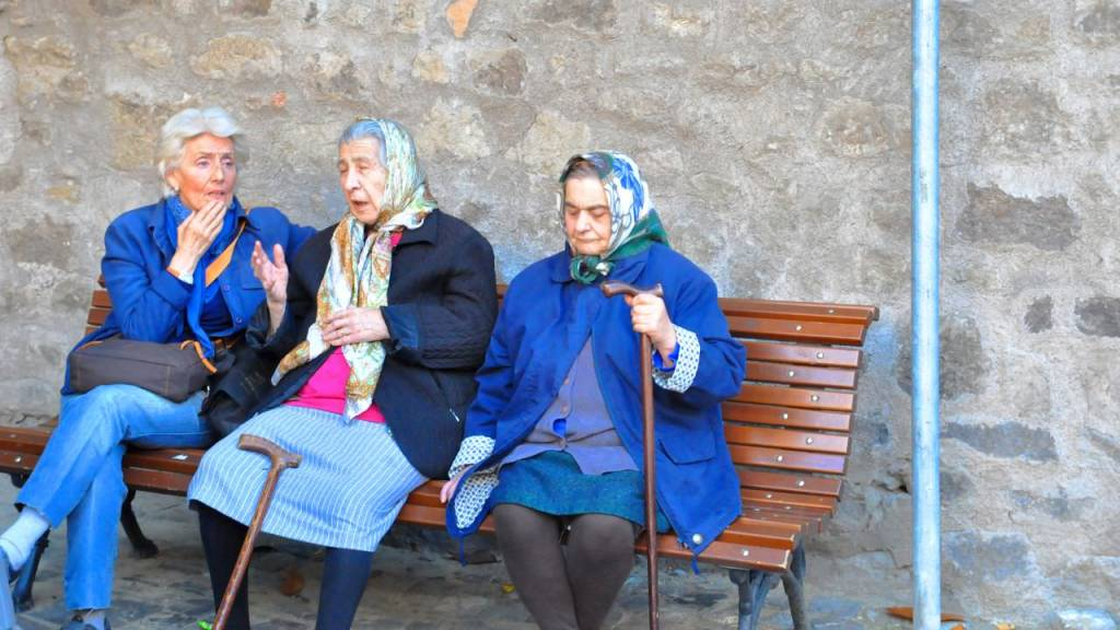 old ladies in italian town