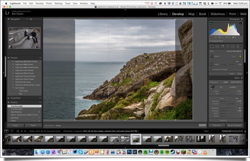 square cropping images for instagram in lightroom