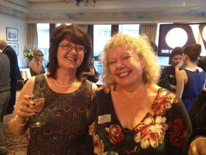 Maria C. McCarthy (left) with Michele Roberts at Society of Authors' Awards Party 2015