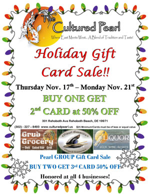 The Cultured Pearl's Famous Holiday Gift Card Sale! Thurs Nov. 17th - Mon Nov. 21st 2016