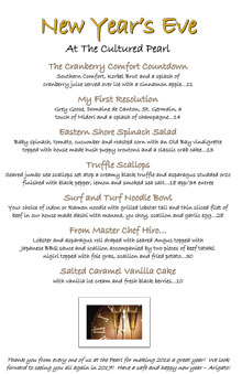 New Year's Eve 2016 Menu at The Cultured Pearl Restaurant & Sushi Bar