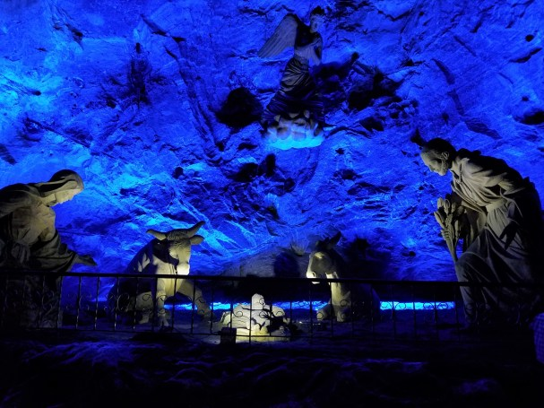 Salt sculptures at the Catedral de Sal (salt cathedral) in Zipaquira, Colombia