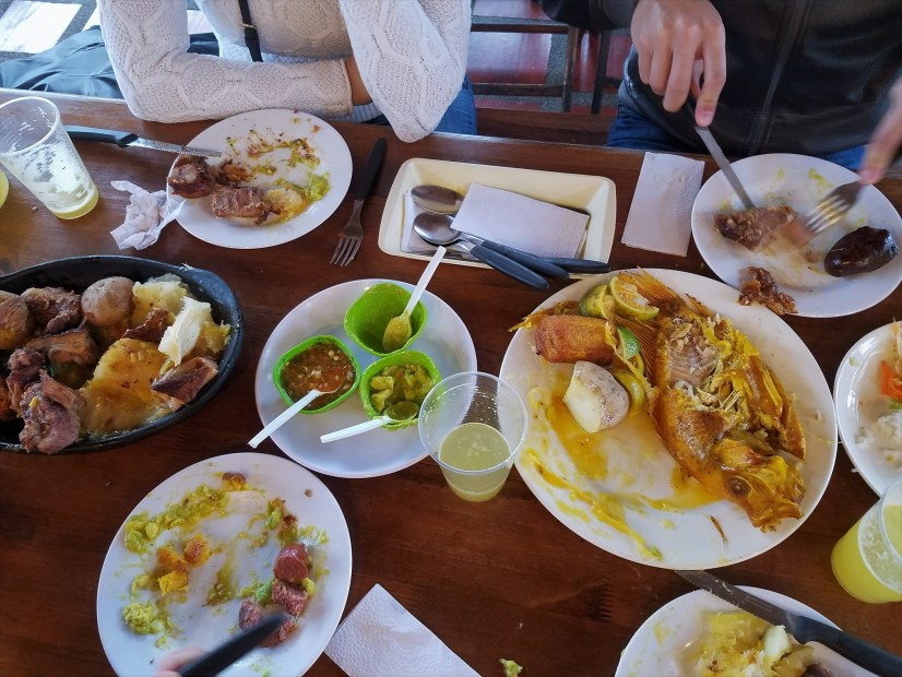 The spread at the cafeteria that Masha spotted on our way to the salt cathedral in Zipaquira, Colombia