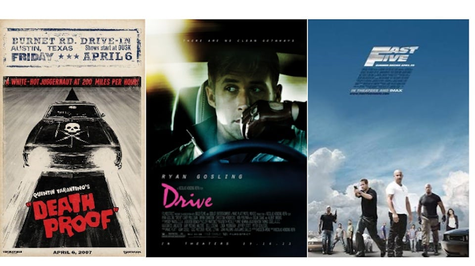 Posters of Death Proof, Drive, and Fast Five