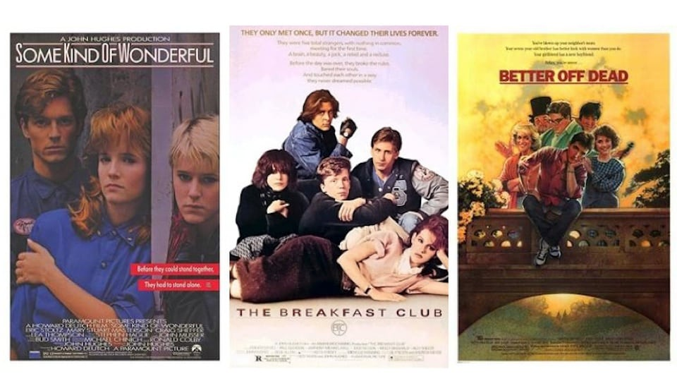 Movie Posters of Some Kind of Wonderful, The Breakfast Club, and Better off Dead