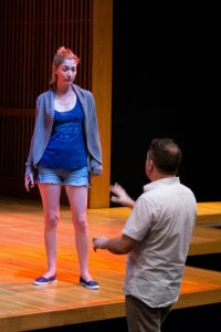 """Scene work: actor Katie deBuys and director Ryan Rilette in rehearsals for """"Small Mouth Sounds"""" at Round House Theatre."""