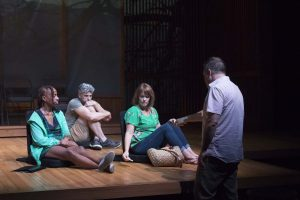 """Actors Andrea Harris Smith, James Whalen and Beth Hylton rehearse with director Ryan Rilette. Playwright Bess Wohl's """"Small Mouth Sounds"""" runs through Sept. 23 at Round House Theatre."""